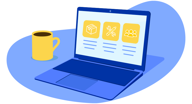 coffee cup and website with product listings