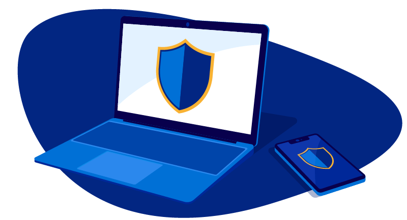 Secure laptop and mobile device illustration