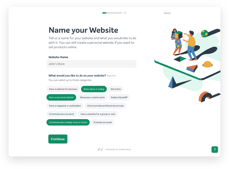 Screenshot of EasyWP name your website