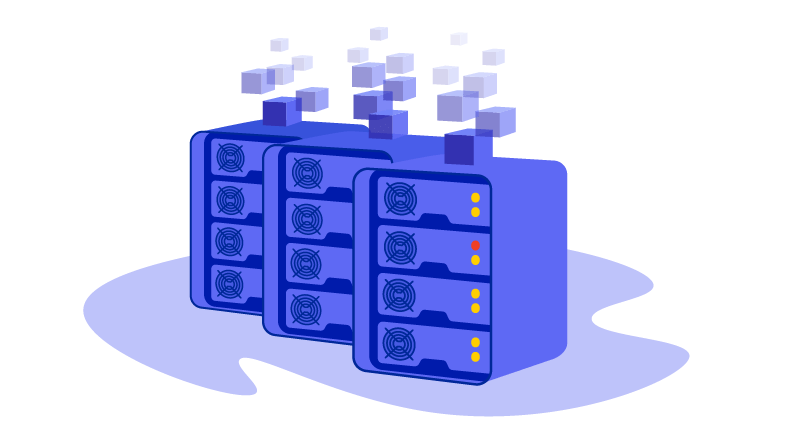 servers with blocks connecting to them
