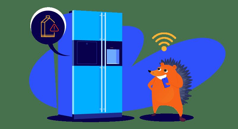 Smart refrigerator reminding hedgehog to buy milk