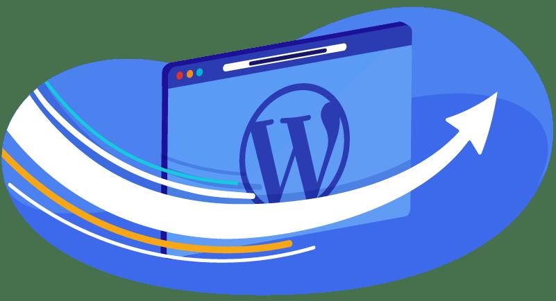 WordPress website with arrow showing migration