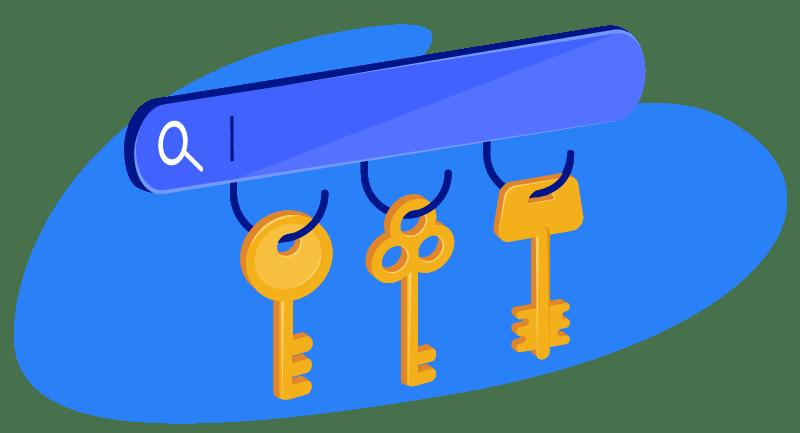 row of keys under search bar