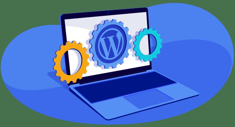 WordPress on laptop with gears