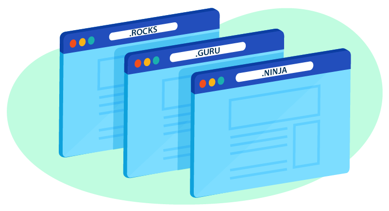 Illustration of various domain extensions