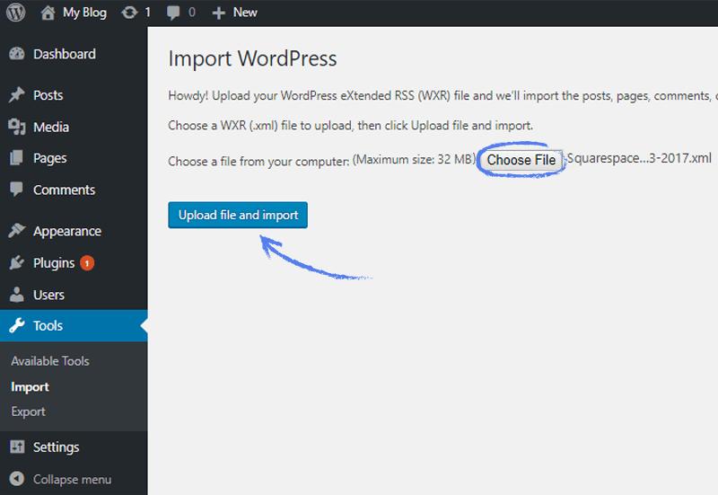 Import WordPress screenshot