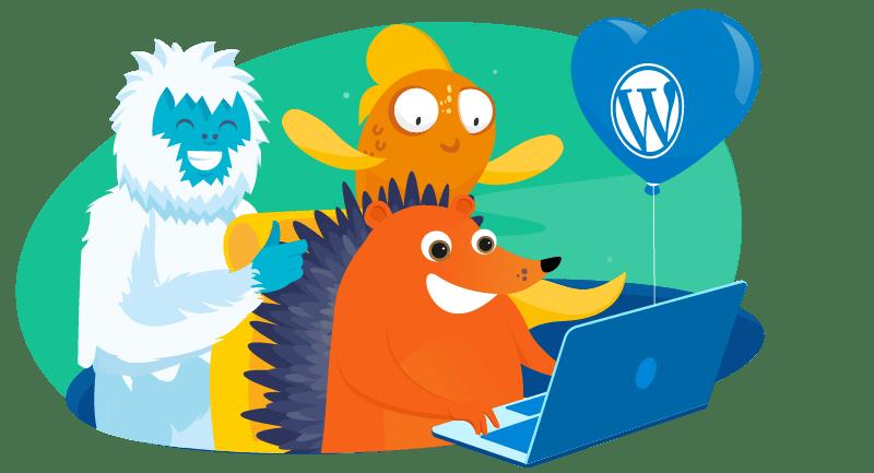 Hedgehog, Yeti and Goldfish learning WordPress together