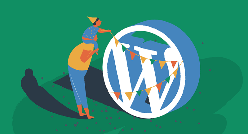 man and child decorating WordPress logo for birthday