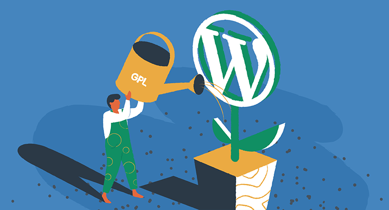 Person watering a WordPress flower