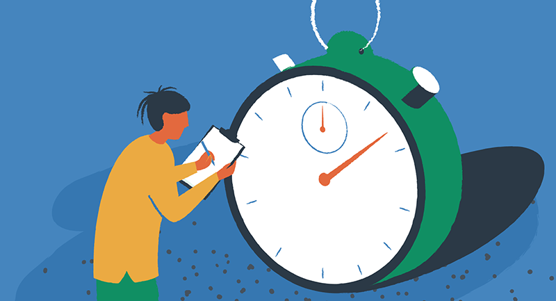 a person testing the speed of WordPress installs with a giant stopwatch