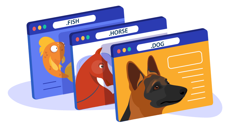 Image of different pet domains as websites