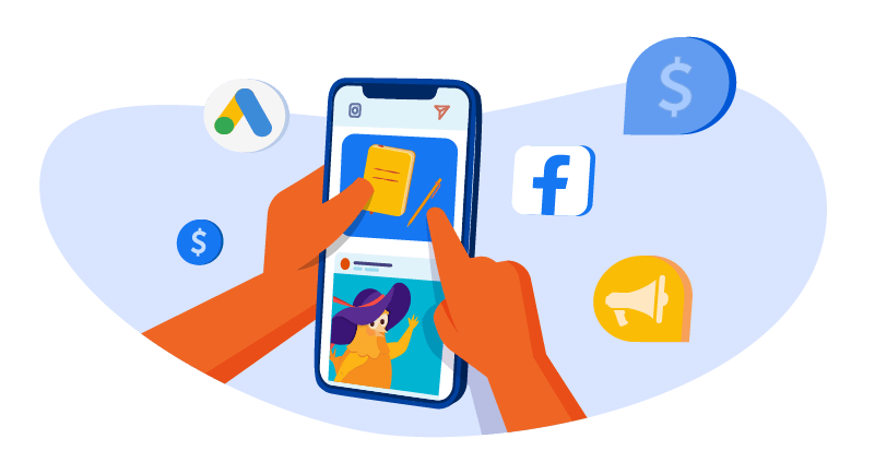 Using social media on a mobile phone