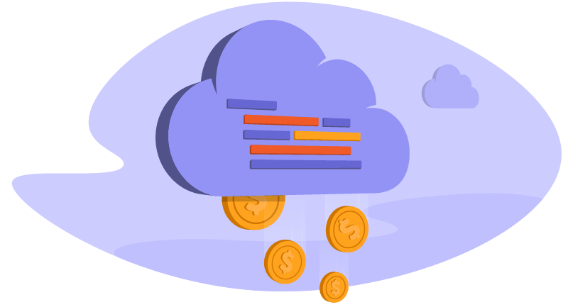 Illustration of coins falling out of a data cloud