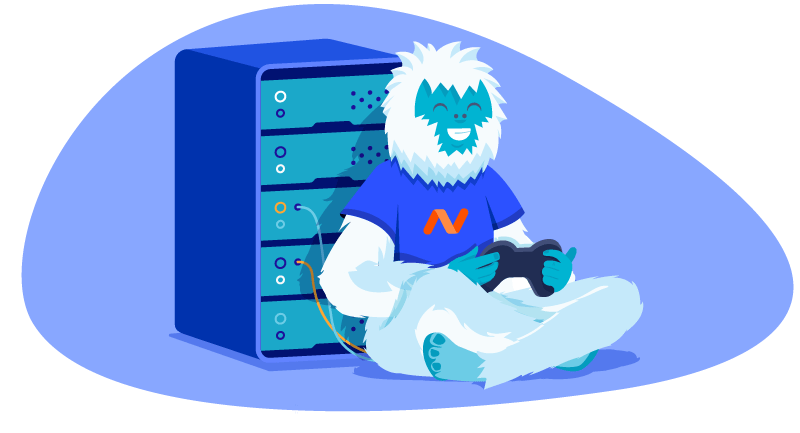 Yeti playing a video game in front of a gaming server