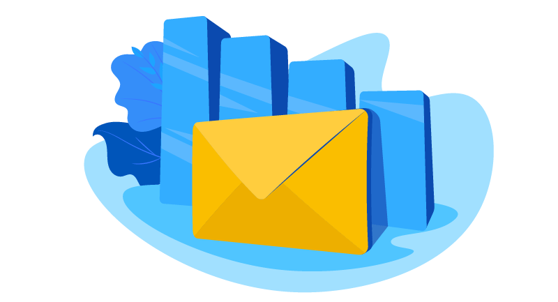 mail in front of growth chart