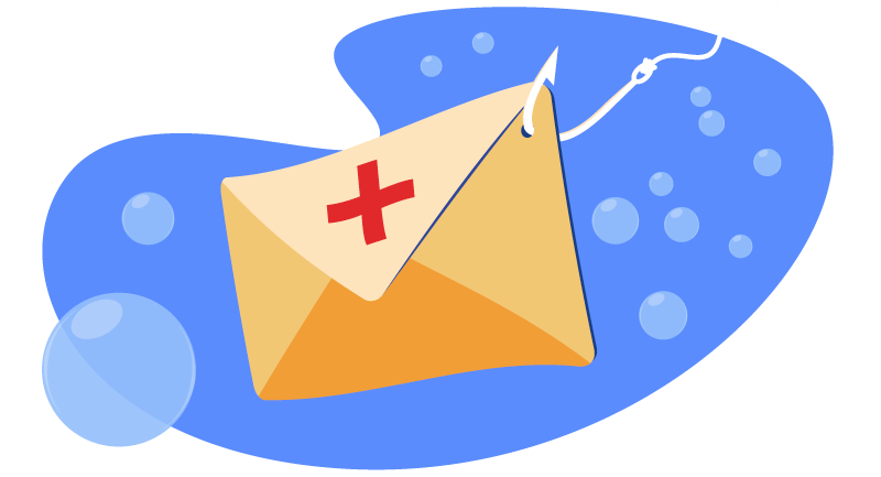 envelope with a fish hook