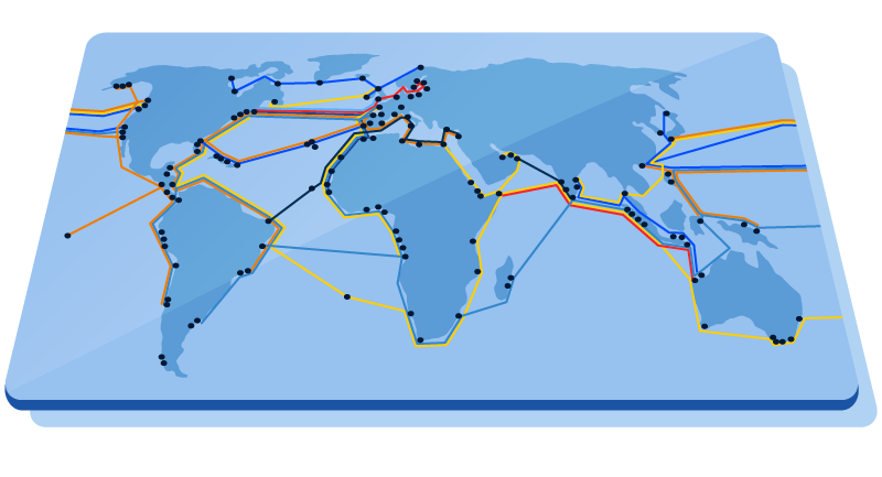 illustration of global underwater cables