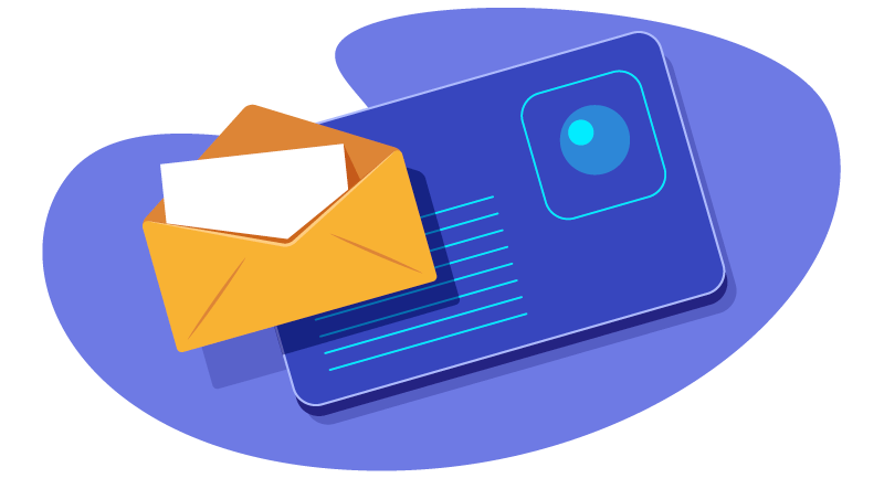 illustration of email with a letter in an envelope with a website