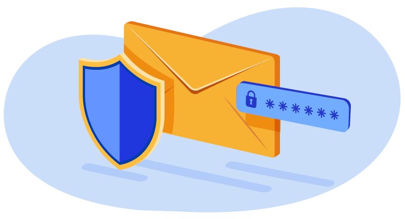 Shield and envelope with password