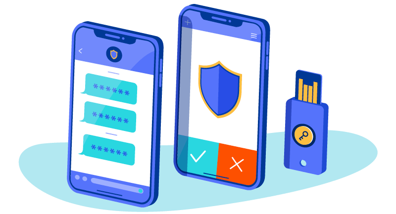 text message, shield on mobile phone and yubikey