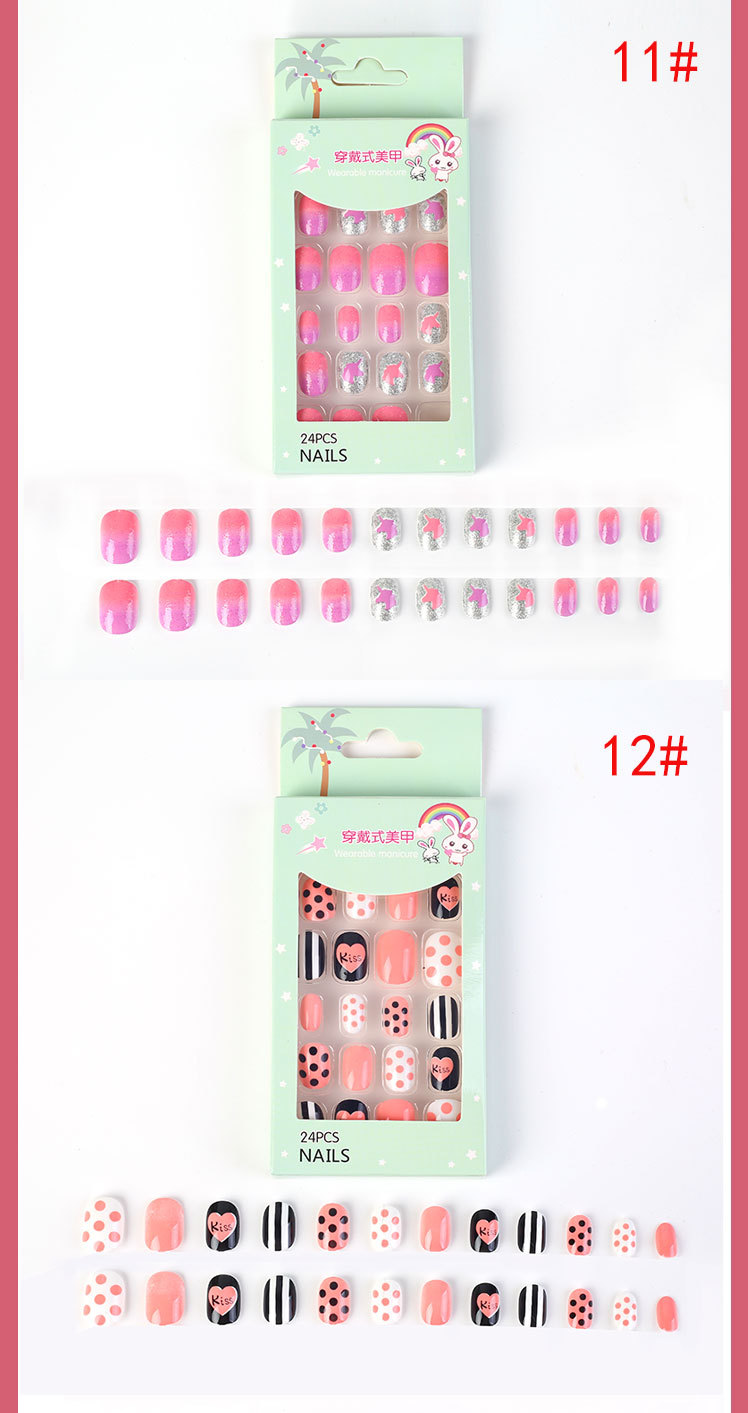 Children's Fake Nails Removable Nail Sticker with Adhesive Wholesale