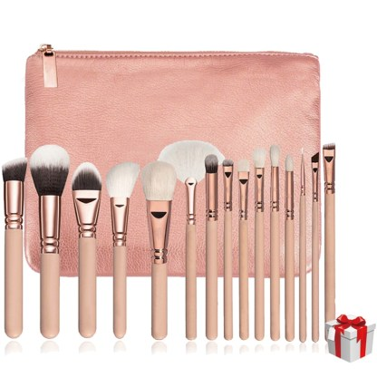Makeup Brushes with Leather Cases