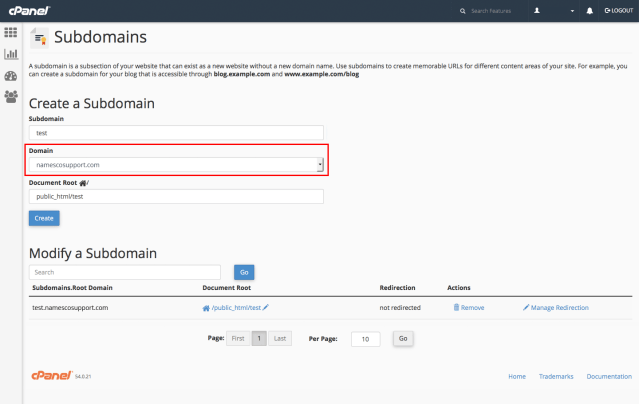 How to create a subdomain in cPanel - Support Centre - names.co.uk