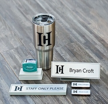 Custom Name Badge, Stamp, Desk Plate and Mug with Logo