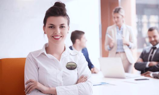 Woman Wearing Professional Name Badge