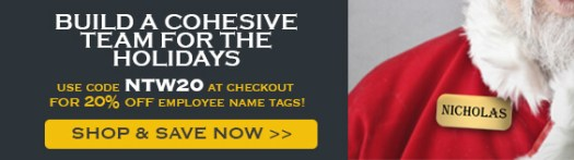 Get 20% Off Employee Name Tags with Code NTW20, Man in Santa Suit Wearing a Nicholas Name Tag