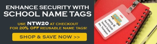 Enhance Security with School Name Tags with Code NTW20, Student Bus Badge