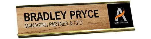 Desk Name Plate with Wood Pattern Insert