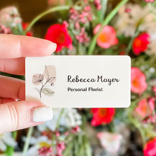 personalized flower name badge