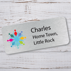 Name Tag with Home Town of Employee