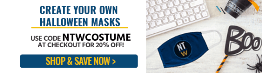 create your own halloween masks, use code ntwcostume at checkout for 20% off, shop and save now