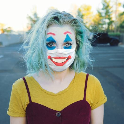 clown halloween costume with clown makeup face mask