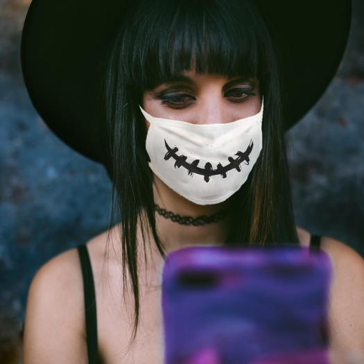 woman with stitch mouth halloween face mask