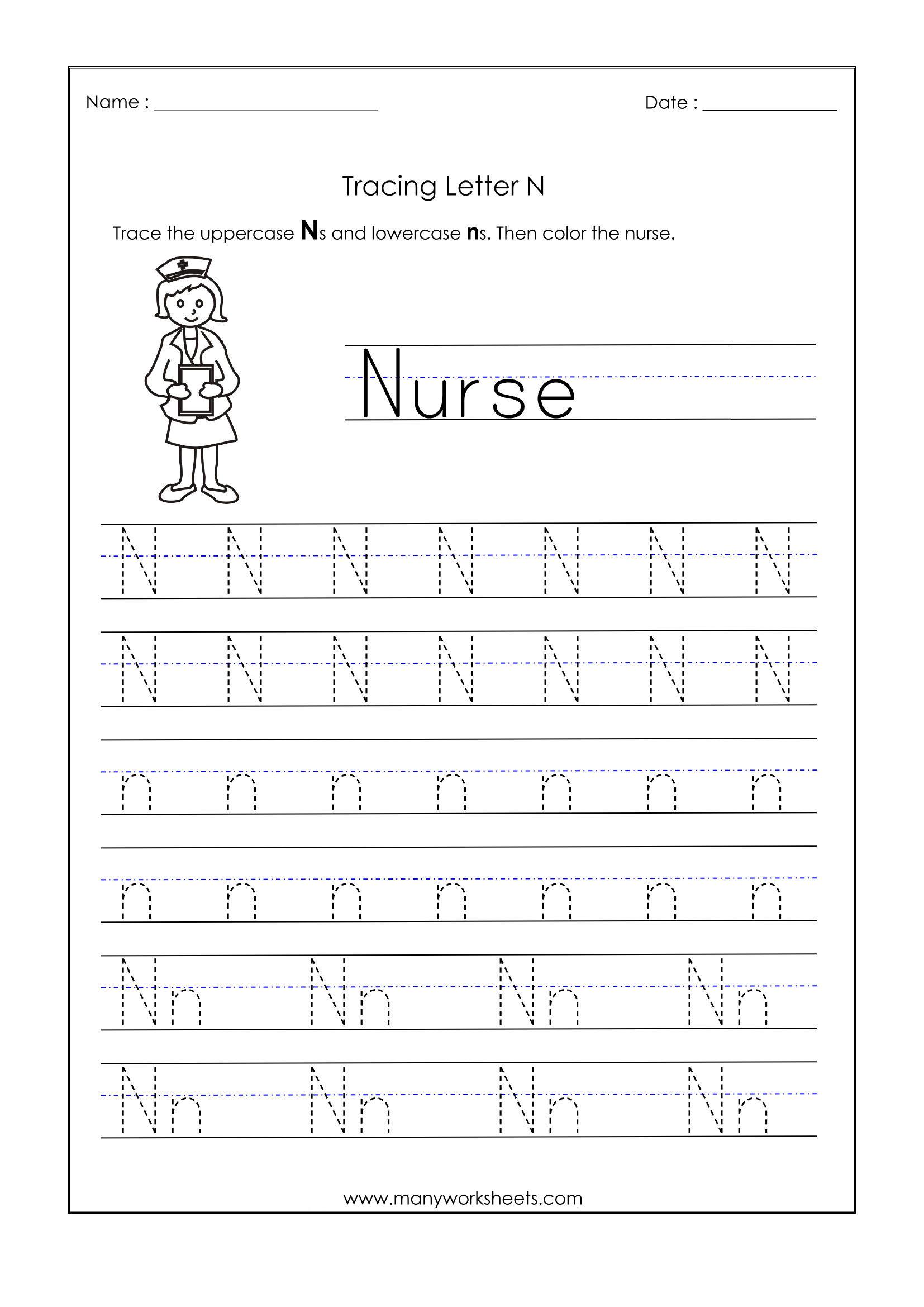 Tracing Letter Nn Worksheet