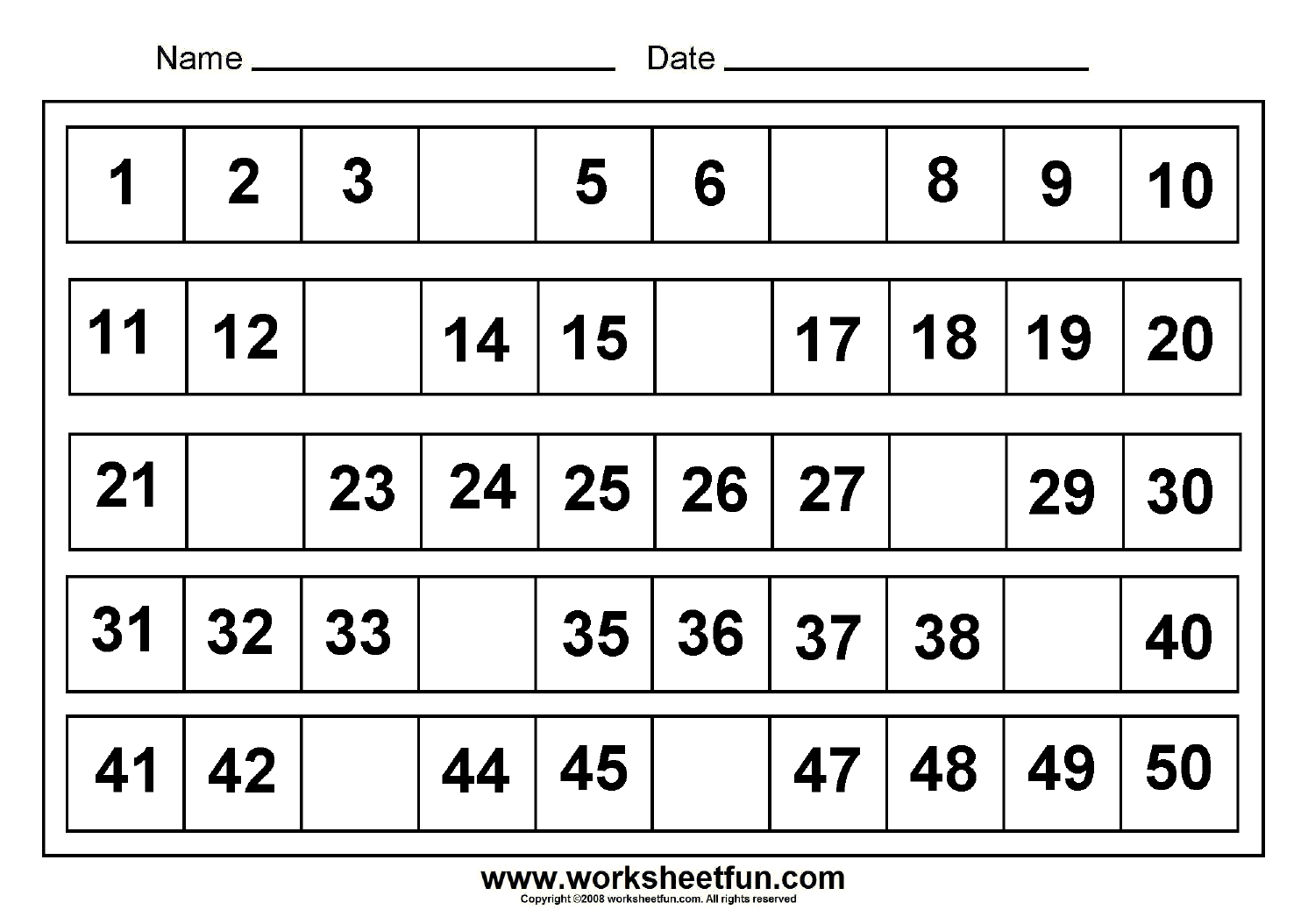 Tracing Numbers 1 40 Worksheets