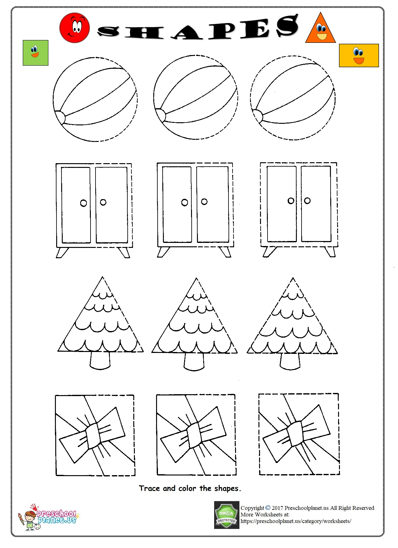 Cone Shape Tracing Worksheets