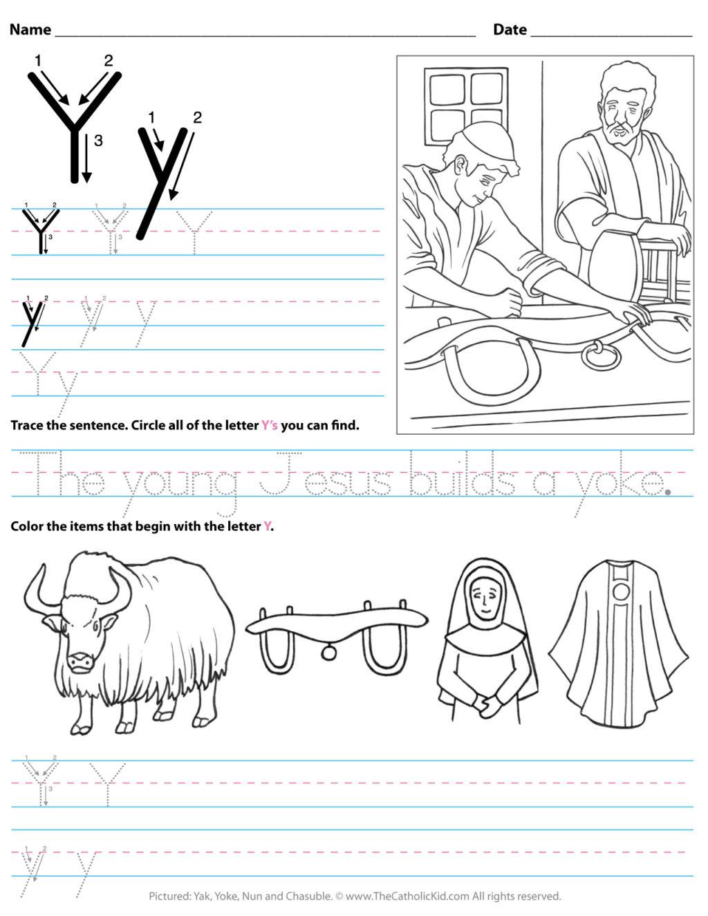 Letter Y Tracing Worksheets Preschool