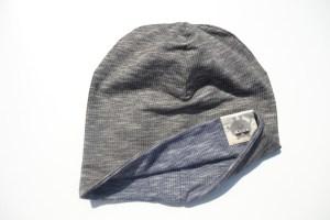 Dvipusė melanžinė medvilninė kepurė su nuotaikomis Juoda/Mėlyna