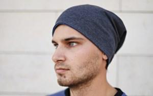Dvipusė kepurė rudeniui Mėlyna ir Pilka