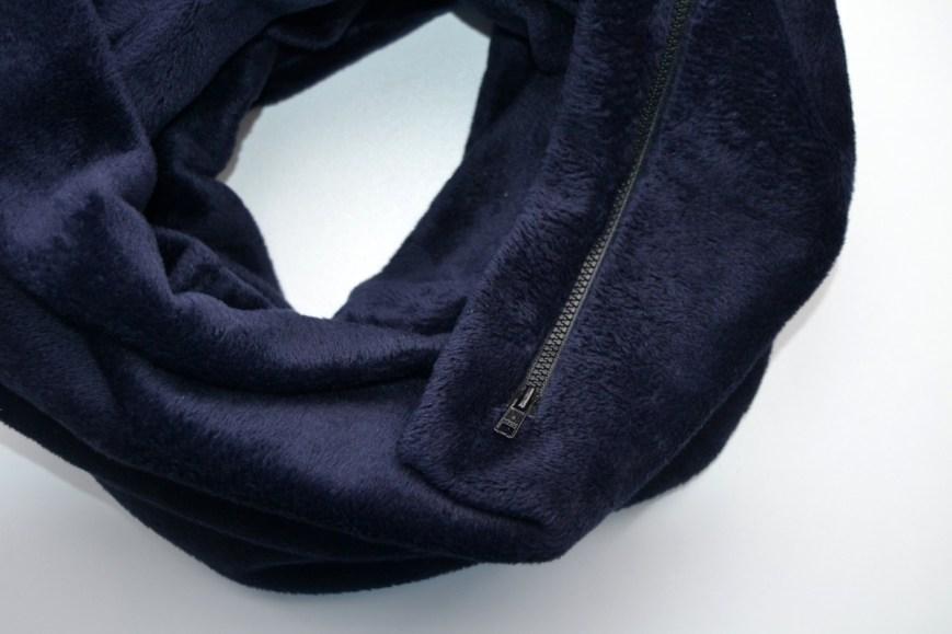 Dvigubas mėlynas šiltas šalikas su kišene