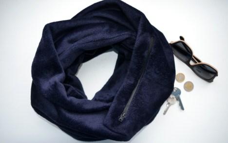 Šiltas šalikas su kišene - Tamsiai mėlynas