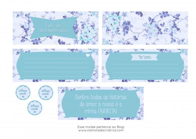 Molde Cartão dia dos Namorados Azul lado