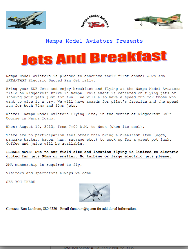Jets and Breakfast Fun Fly
