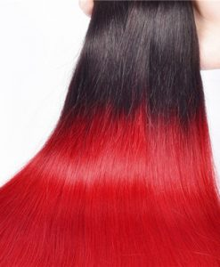 1b Red Ombre Hair Weave Silky Straight Bundles