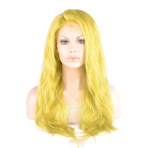 Top Quality Frontal Lace Wig Brazilian Hair Wig Yellow Color Wig