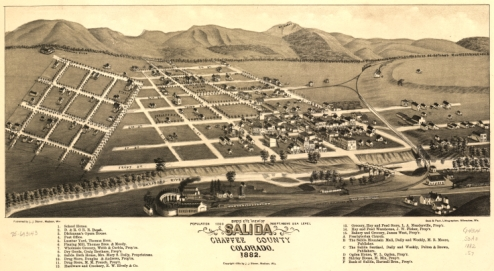 Map of Salida, Colorado, from 1882